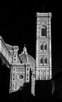 Giotto, the bell tower of the Basilica of Santa Maria del Fiore, the Cathedral of Florence, Italy.