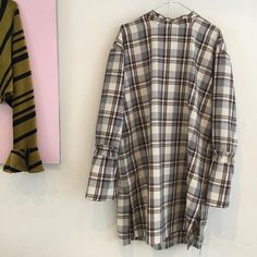 plaid, tartan tunic dress in 100% cotton with frill detail on sleeves and neckline. handmade fashion, danskdesign