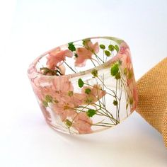 Pink and Green Botanical Resin Bangle. by SpottedDogAsheville
