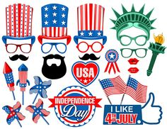 Independence Day digital photo booth props   picwrap - Graphics on ArtFire