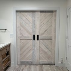 Whitewashed Solid Cypress Sliding Chevron Barn Doors (built to order) Antique French Doors, Sliding French Doors, French Doors Patio, Double Barn Doors, The Doors, Black Hangers, Tongue And Groove Panelling, Welcome Signs Front Door, Cypress Wood