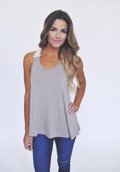 Taupe Crochet Strap Tank - Dottie Couture Boutique