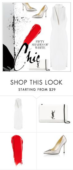 """""""Fifty shades of white ✨"""" by ghada-a ❤ liked on Polyvore featuring Mason's, Yves Saint Laurent, NARS Cosmetics and Emy Mack"""