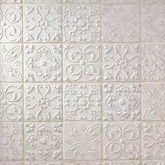 Aged White Ornato Matte Ceramic Tile - 8 x 8 - 100566215 White Tile Backsplash, Country Kitchen Backsplash, Kitchen Backplash, Backsplash Ideas, Kitchen Design, Kitchen Decor, Do It Yourself Design, Polished Porcelain Tiles, Luxury Vinyl Plank