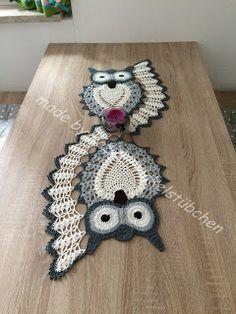 KaSies Häkelstübchen: Owls ~ Doilies Part 3 (Outline - Rose Crochet Owl Crochet Patterns, Crochet Owls, Crochet Doily Patterns, Owl Patterns, Crochet Doilies, Knitting Patterns, Knit Crochet, Afghan Patterns, Beau Crochet