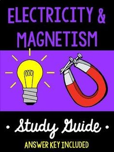 This 64 question study guide is a great review for electricity and magnetism!  Here are the topics covered: Static Electricity (fricition, conduction, induction, electric charges, electroscope, electric field, insulator, conductor, electrons) Electron Flow Circuit Current (series circuit, parallel circuit, voltage, current, resistance, Ohm's Law calculations, direct current, alternating current)  Applications of Magnetism (electromagnet, electromagnetic induction, magnetic domain, magnetic…