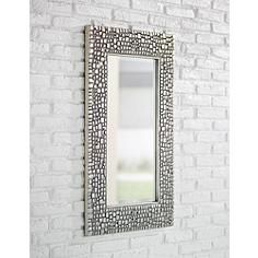"""Textured Relief 36"""" High Silver Wall Mirror"""