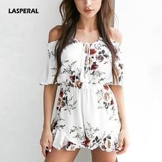 6a7a130a2577 LASPERAL 2017 New Women Fashion Off Shoulder Halter Rompers Sexxy Slash  Neck Backless Ruffles Floral Print