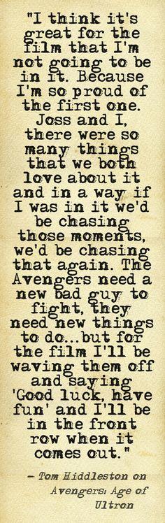 Tom Hiddleston on Avengers: Age of Ultron 7-26-13