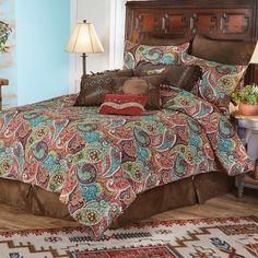 King Quilt Bedding, King Quilt Sets, Western Bedding, Rustic Bedding, Unique Bedding, California King Quilts, Southwest Bedroom, Paisley, Bedding Sets Online