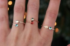 dual birthstone ring. two stone ring. gemstone by galwaydesigns