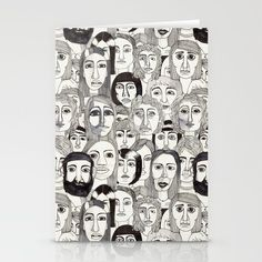 Faces in the Tube by Marina Molares STATIONERY CARDS