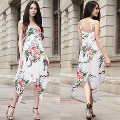 Fashion Women Sleeveless Floral Long Dress Party Cocktail Gown Casual Sundress