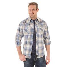Wrangler Mens Rock 47 Western Snap Blue/Khaki Plaid L/S Shirt