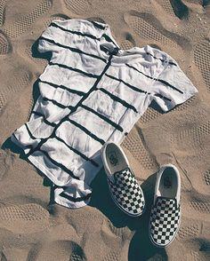 Brushed Up: The Pocket T-Shirt & Checkerboard Slip-Ons. #vansgirls