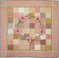 Ring Around The Rosies Girl Baby Quilt Pattern found on cutequiltpatterns.com.