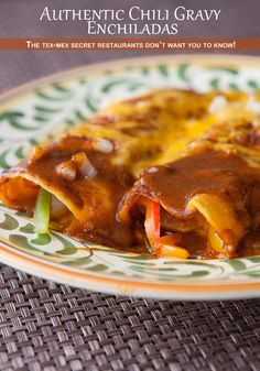 Chili Gravy Enchiladas: The Perfect Enchilada Sauce You Are Missing - From a Homesick Texan Recipe _ A very spicy, smooth sauce bakes up perfectly. These tasted super-authentic. Chili gravy enchiladas will change your Tex-Mex life! Mexican Dishes, Mexican Food Recipes, Beef Recipes, Dinner Recipes, Cooking Recipes, Ethnic Recipes, Mexican Cooking, Mexican Meals, Mexican Cheese
