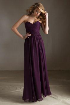 Floor Length A-line Chiffon Natural Waist Bridesmaid Dress