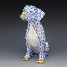 Herend Seated DOG Blue Fishnet Figurine Labrador Retriever Dalmatian 15566 7