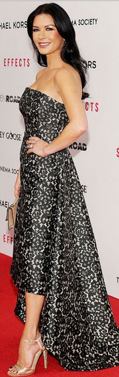 Catherine Zeta Jones' in black and white strapless gown and crystal sandals that she wore   in New York'... Elegant!