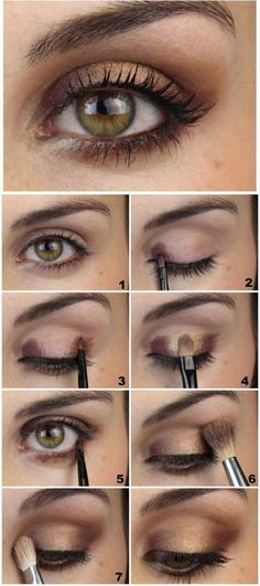 How To: Step By Step Eye Makeup Tutorials And Guides For Beginners Eye Makeup For Hazel Eyes, Hazel Brown Eyes, Make Up Brown Eyes, Brown Eyes Makeup, Eye Make Up, Eyemakeup For Brown Eyes, Brown Eyeshadow Looks, Makeup Eyes, Make Up Hooded Eyes