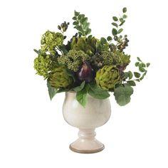 Artichoke and Hydrangea Silk Flower Arrangement from silkyflowerstore.com #Silk  #Flower  #gift