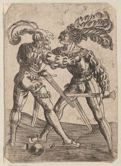 1450-1600 Zasinger (artist) Zwei Cefechter. One of a collection of illustrations of Austrian soldiers. Two figures with swords and plumed hats. Copyright - Anne S.K. Brown Military Collection at Brown University.