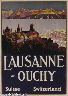 Vintage Travel Poster by Johannes Emil Muller: Lausanne~Ouchy, Switzerland Train Posters, Railway Posters, Lausanne, Evian Les Bains, Fürstentum Liechtenstein, Tourism Poster, Travel Ads, Vintage Travel Posters, Poster Vintage