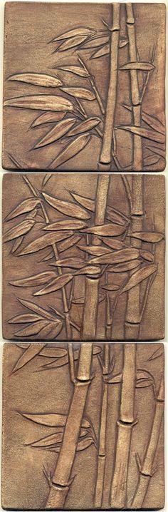 Windblown Bamboo Tiles Mxs Set of 3 via Etsy