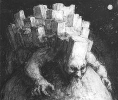"""El Hurgador [Arte en la Red]: Paul Rumsey, """"Ciudad arrastrándose / Crawling City"""", carboncillo / charcoal, 38 x 44 cm., 1995"""