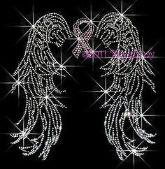 BREAST CANCER ANGEL WINGS RHINESTONE IRON ON TRANSFER
