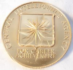 1989 24k Gold Plate Bronze CIA Medal Central Intelligence Agency Medallic Art