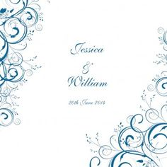 A pair of Swirls Square Horizontal Invitation in Mid-Blue - DreamDay Wedding Invitations