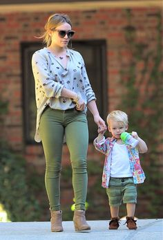 Hilary Duff and adorable son Luca wearing his Minnetonka Braid Bootie
