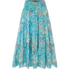 Lauren Ralph Lauren Moriah tiered smock skirt ($97) ❤ liked on Polyvore featuring skirts, blue multi, clearance, cotton midi skirt, blue tiered skirt, lauren ralph lauren, calf length skirts and blue midi skirt