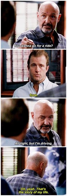hawaii five 0 scott caan terry o'quinn h50: 4x05 aww poor bb i like how he quickly glances at steve first before responding like '????'