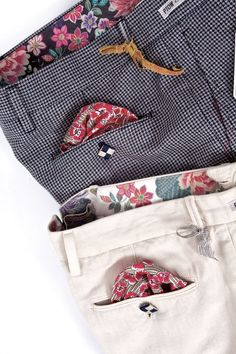 Trouser waistband and pocket flap details
