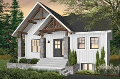 Color version 5 - Front Small and affordable bungalow house plan with master on main, 3 bedrooms, large open space, huge kitchen - Nordika Rustic House Plans, Farmhouse Plans, Modern Farmhouse, Modern Rustic, Farmhouse Style, Bungalow House Plans, Modern Bungalow, Drummond House Plans, Open Concept Floor Plans