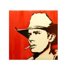 JAMES DEAN in RED 16x16 Original Painting on Canvas by MrMahaffey, $75.00