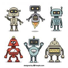 Colección personaje de robot dibujado a ...   Free Vector #Freepik #freevector Art Drawings For Kids, Drawing For Kids, Easy Drawings, Robots Characters, Free Characters, Robots For Kids, Art For Kids, Robots Vintage, Doodle
