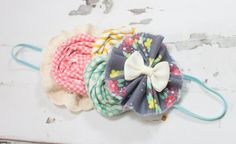 Spring Showers - headband in grey, yellow, aqua, mint green, pink and cream - M2M Matilda Jane Hello Lovely and 435 Collections by SoTweetDesigns