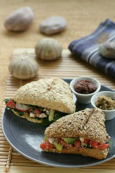 Greek Salad in a Whole Grain Sandwich with Kalamata Olive Paste | Greek Food - Greek Cooking - Greek Recipes by Diane Kochilas Repinned by Aline