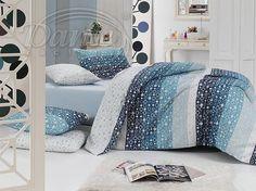 Moderní povlečení z hladké bavlny dotvoří příjemnou a svěží atmosféru ve vaší ložnici.     Potisk povlaku na polštář je z obou stran stejný. Vzor na peřině kombinuje různé odstíny modré na jedné straně, rubová strana je bílá se světlounce modrými kolečky.     Zapínání je na zip.     Materiál: 100% hladká bavlna. Comforters, Blanket, Bed, Furniture, Home Decor, Creature Comforts, Quilts, Decoration Home, Stream Bed
