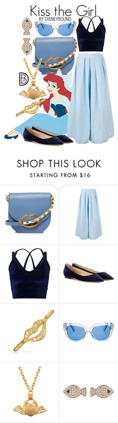 """""""Kiss the Girl"""" by leslieakay ❤ liked on Polyvore featuring Lulu Guinness, Lab, Rachel Comey, Miss Selfridge, Jimmy Choo, Bling Jewelry, Kate Spade, Valentino, Latelita and disney"""