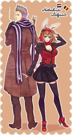 Willem and Anouk (head-canon names for Netherlands and Belgium, respectively) - Lord knows what happened to her, though. - Art by Mushi Kei