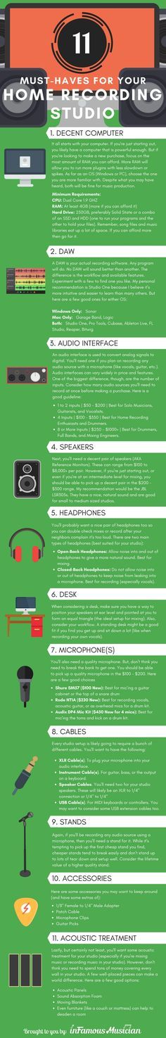 Image result for music studio equipment checklist infographic