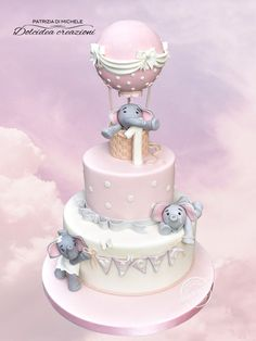 Little elephants in a air balloon - cake by Dolcidea creazioni Fancy Baby Shower, Dumbo Baby Shower, Elephant Baby Shower Cake, Baby Shower Cakes, Elephant Birthday Cakes, Baby Birthday Cakes, Elephant Cakes, Baby Girl Christening Cake, Dumbo Cake