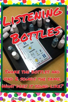 Shake the bottles, find the matching sounds. Senses Activities, Phonics Activities, Science Activities, Preschool Phonics, Preschool Ideas, Nursery Activities, Jolly Phonics, Teaching Ideas, Listening Games