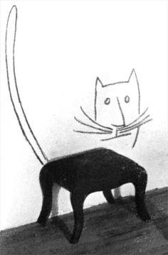 Saul Steinberg Cat stool (detail).  ≧^◡^≦ ☀