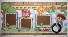 2 Premade Paper Pieced Boy oh Boy! Scrapbook Pages -By Babs Baby Scrapbook Pages, Kids Scrapbook, Scrapbook Sketches, Scrapbook Page Layouts, Scrapbook Cards, Scrapbooking Ideas, Paper Piecing, Paper Crafts, Crafty